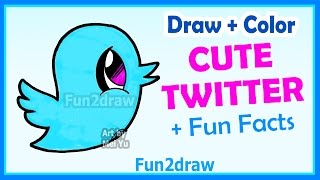 How to Draw Cute Cartoons - Twitter Bird - Easy Step by Step + Color Fun2draw