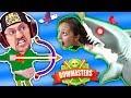 MOMMY, CAN I SHOOT A SHARK PWEEEZ?! 🌊 BOWMASTERS Game w BAD BABY FGTEEV Duddy Chunky Boy Skit