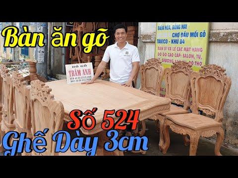 Đẳng Cấp bộ bàn ăn gõ đỏ 8 ghế luy mặt dày 3cm cực đẹp|Đồ Gỗ Trâm Anh|Số 524
