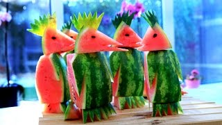 Art In Watermelon Penguins  | Fruit Carving Garnish | Watermelon Art | Party Garnishing