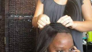 getlinkyoutube.com-How to Sew a  Full head Celebrity weave,Braid pattern, Closure&styling