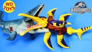 getlinkyoutube.com-JURASSIC WORLD HERO MASHERS CARNOTAURUS VS Mosasaurus By WD Toys