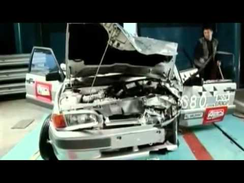 Краш-тест Русского автомобиля ВАЗ 2114. В замедленной съемке.