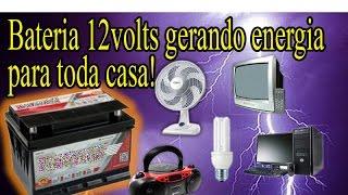 getlinkyoutube.com-bateria 12 volts gerando energia para toda casa - luz, tv, ventilador