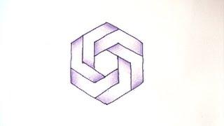 getlinkyoutube.com-[だれでも描ける!線画アート] 面白いだまし絵の描き方(六角形編) How to draw