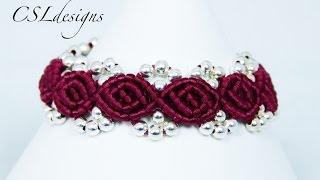 getlinkyoutube.com-Rosebud macrame bracelet ⎮ Valentines