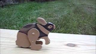 Wood hopping bunny toy