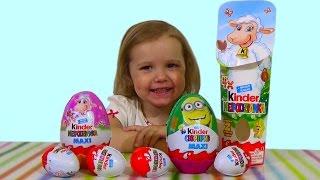 getlinkyoutube.com-Миньоны Хело Китти Киндер сюрприз игрушки распаковка Kinder Minions Hello Kitty surprise eggs toys