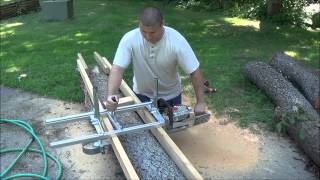 getlinkyoutube.com-ALASKAN MKIII. Chainsaw Milling Attachment. Assembling and then Cutting Boards.