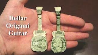 getlinkyoutube.com-Dollar Origami Guitar Tutorial - How to make a Dollar Origami Guitar