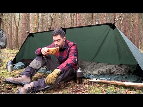 Solo Camping in the Forest  - Fire Reflector, Tarp, Camp Fire, Axe and Knife Work