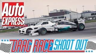 getlinkyoutube.com-Mercedes SLS AMG Black vs F1 car - Drag Race Shoot-out