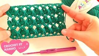 سلسلة فيديوهات غرز كروشيه جديدة بالباترون /الغرزة رقم #1 How to Crochet Stitches 🎀