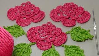 getlinkyoutube.com-Вязание РОЗЫ для ирландского кружева. Вязание на бурдоне. Rose Crochet