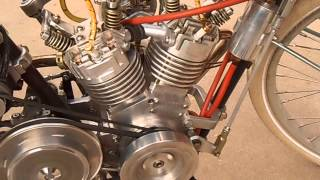 getlinkyoutube.com-Homemade  Motorcycle 45 deg. V twin 175cc  out for a Sunday spin.