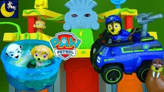 getlinkyoutube.com-Funny Toy Stories for Kids with Paw Patrol Toys Jungle Temple Playset Tracker Marshall Chase Toys!