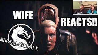 getlinkyoutube.com-HEEL WIFE REACTS TO Mortal Kombat X Fatalities! Grim vs Wife PS4 Gameplay