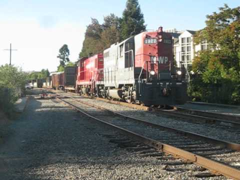 Northwestern Pacific Railroad #2009 & 1922  switch cars in Santa Rosa, CA June 28,2012