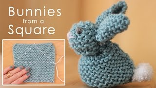 getlinkyoutube.com-How to Knit a BUNNY from a SQUARE: Easy for Beginning Knitters