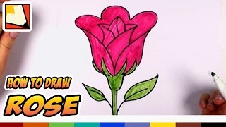 getlinkyoutube.com-How to Draw a Rose Easy - Open Rose Art Tutorial - Easy Art for Kids | CC