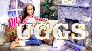 getlinkyoutube.com-DIY - How to Make: Doll UGGS Boots - Winter - Holiday - Craft - 4K