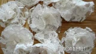 getlinkyoutube.com-DIY: How to Make Lace Fabric Flowers (Easy & Simple)