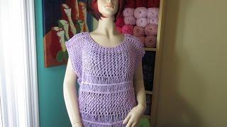 getlinkyoutube.com-Como tejer con dos agujas y horquilla blusa de verano Lavanda con Ruby Stedman