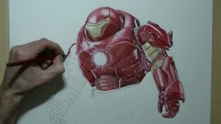 getlinkyoutube.com-Drawing Iron Man (Hulkbuster) Avengers: Age of Ultron - Speed Painting