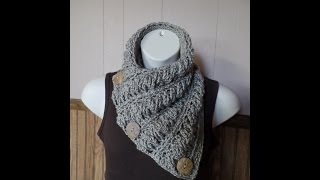 getlinkyoutube.com-CROCHET How to #Crochet Gwenyths Cable Stitch Button Cowl Wrap Scarf #TUTORIAL #260