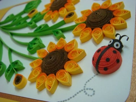 Quilled sunflowers handmade card with pop up sunflowers