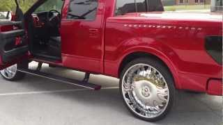 "getlinkyoutube.com-Candy Red Harley Truck on 30"" Forgiatos 4 18"" Digital Design subs BEATING!-HD"