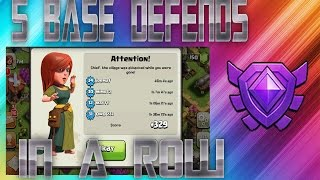 """TOWN HALL 9 "" 5 DEFENSIVE WINS IN A ROW? IN CRYSTAL LEAGUE? ""CLASH OF CLANS)"