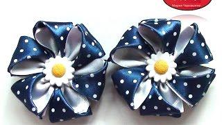 getlinkyoutube.com-МК Резинки с цветами из атласной ленты. Канзаши. Цветы из лент. DIY Ribbon flower