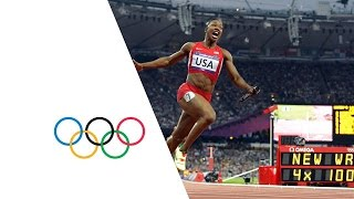 USA-Break-Womens-4-x-100m-Relay-World-Record-London-2012-Olympics width=
