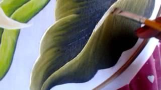 getlinkyoutube.com-Pintura en tela hojas con cony