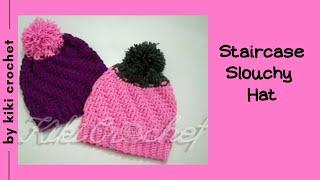getlinkyoutube.com-Crochet Staircase Stitch Slouchy Hat