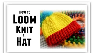 How to LOOM KNIT a Hat Step by Step Knitting for BEGINNERS, All Sizes, Make Brim, Change Color
