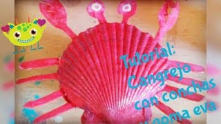 getlinkyoutube.com-Tutorial: Cangrejo con Conchas y Goma eva