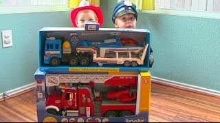 getlinkyoutube.com-Toy Truck Videos for Children - Toy Bruder Mack Fire Engine and Toy Police Truck and Helicopter