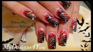 getlinkyoutube.com-Ice & Fire, Halloween Nail Art Design ♥