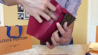 getlinkyoutube.com-Unboxing! Louis Vuitton Collection Jeanne Wallet Monogram in Fuchsia and Rose Ballerine