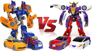 getlinkyoutube.com-Transformers Bumblebee + Optimus Prime Combine VS Turning Mecard W HD Gryphinx Vehicle Robot Car Toy