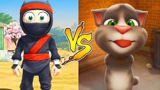 getlinkyoutube.com-Talking Tom and Friends VS Clumsy Ninja / Cartoon Games Kids TV