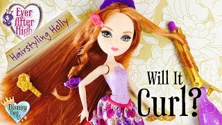 getlinkyoutube.com-Will It Curl? Ever After High Hairstyling Holly Doll - Toy Test