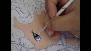 getlinkyoutube.com-Pintura en tela Rostros Servilletas