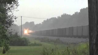 getlinkyoutube.com-Norfolk Southern Trains in Lightning Thunderstorms!!