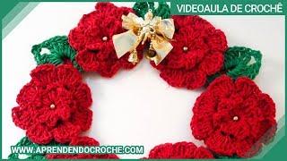 getlinkyoutube.com-Guirlanda de Croche Natal Floral - Aprendendo Crochê