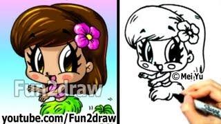 getlinkyoutube.com-How to Draw Cartoon People - Chibi Hula Girl - Cute Art - Fun2draw