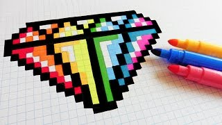 getlinkyoutube.com-Handmade Pixel Art - How To Draw Rainbow Diamond #pixelart