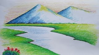 getlinkyoutube.com-Beginners Mountain Landscape Drawing with Oil Pastel